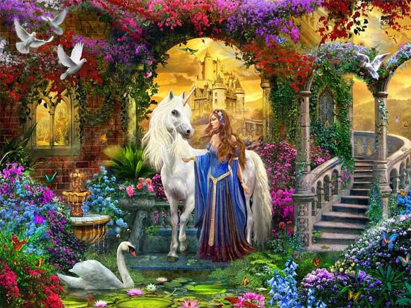 Пазл Собирать пазлы онлайн - Единорог и принцесса