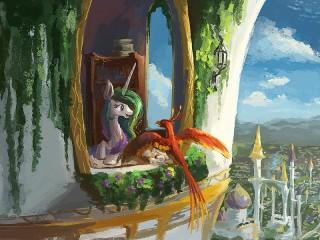 Собирать пазл Единорог и Жар-птица онлайн