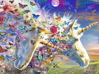 Собирать пазл Единороги и бабочки онлайн