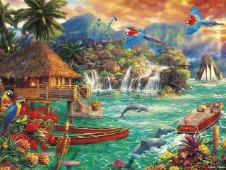 Собирать пазл Экзотический остров онлайн