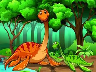 Собирать пазл Эласмозавры онлайн