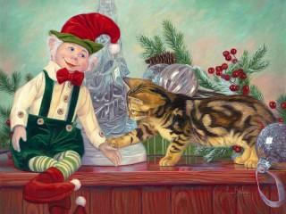 Собирать пазл Эльф и котенок онлайн