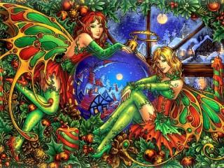 Собирать пазл Эльфы и Рождество онлайн