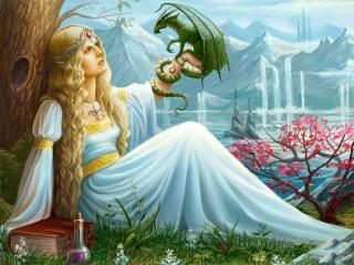 Собирать пазл Эльфийка и дракончик онлайн
