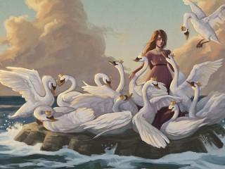Собирать пазл Элиза и лебеди онлайн