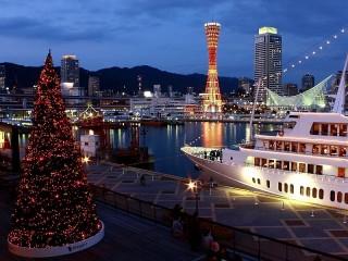 Собирать пазл Елка в порту Кобэ онлайн