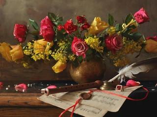 Собирать пазл Этюд с розами онлайн