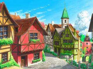 Собирать пазл Европейский городок онлайн