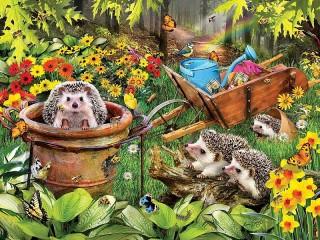 Собирать пазл Ежики в саду онлайн