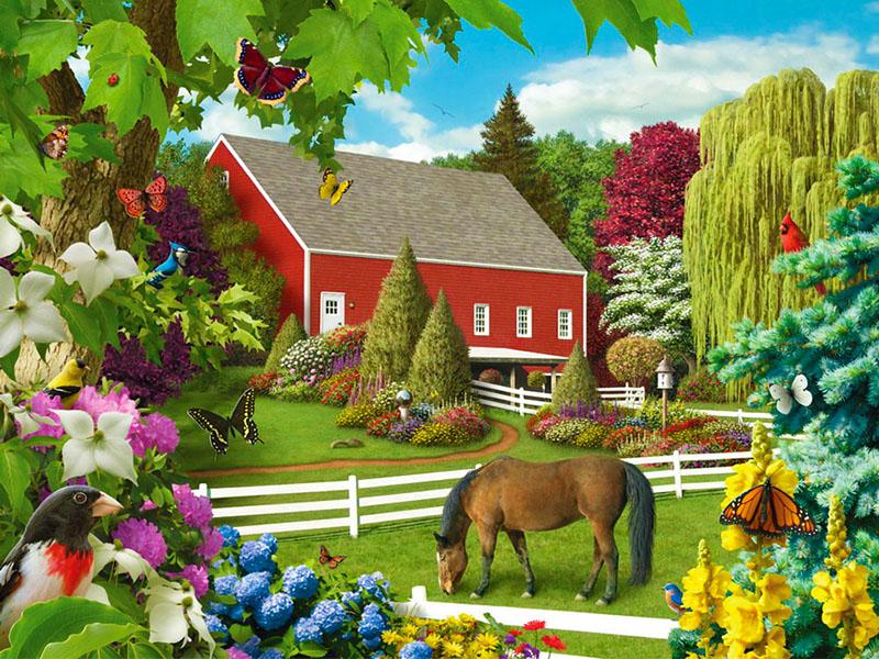 Пазл Собирать пазлы онлайн - Ферма летом
