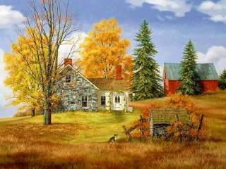 Собирать пазл Ферма осенью онлайн