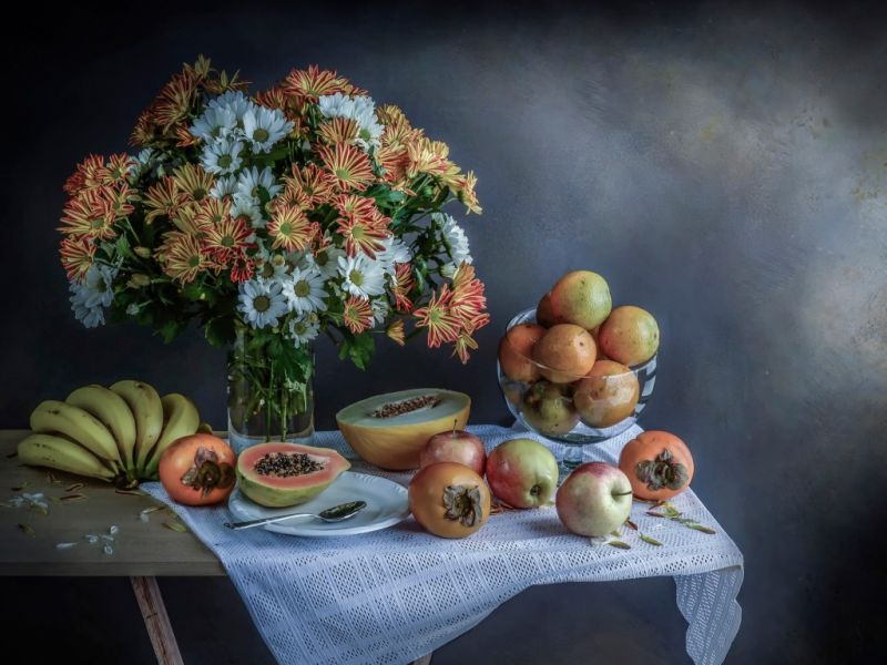 Пазл Собирать пазлы онлайн - Фрукты и цветы1