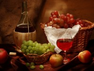 Собирать пазл Фрукты и вино онлайн
