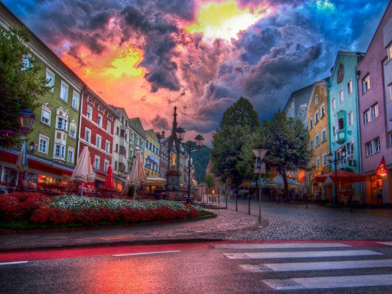 Пазл Собирать пазлы онлайн - Улица в г. Куфштайн. Австрия