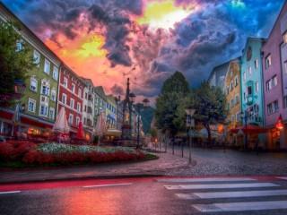 Собирать пазл Улица в г. Куфштайн. Австрия онлайн