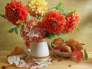 Собирать пазл Георгины и фрукты онлайн
