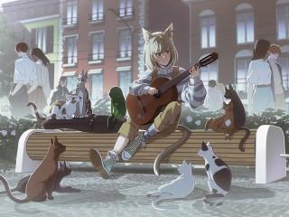 Собирать пазл Гитаристка и кошки онлайн