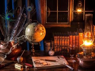 Собирать пазл Глобус и лампа онлайн