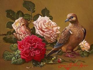 Собирать пазл Голубь и розы онлайн