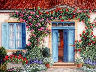 Собирать пазл Голубая дверь онлайн