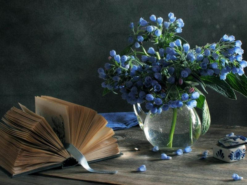 Пазл Собирать пазлы онлайн - Голубые цветы