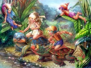 Собирать пазл Гонки на черепахах онлайн