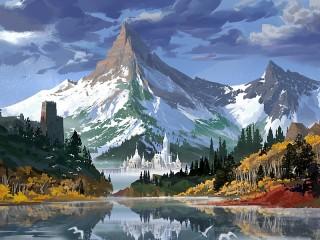 Собирать пазл Гора и город онлайн