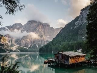 Собирать пазл Горное озеро онлайн