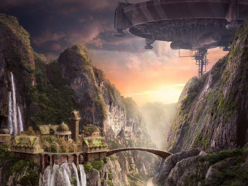 Пазл Собирать пазлы онлайн - Город и мост