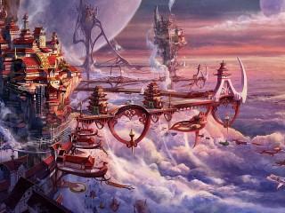 Собирать пазл Город в облаках онлайн