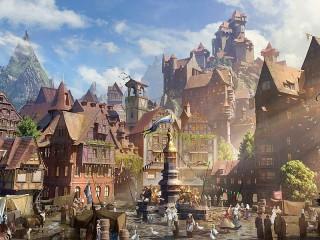 Собирать пазл Городок среди гор онлайн