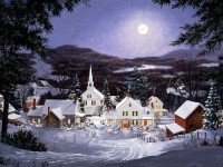 Собирать пазл Городок в снегу онлайн