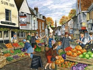 Собирать пазл Городской рынок онлайн