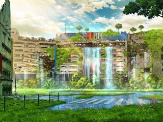 Собирать пазл Городской водопад онлайн
