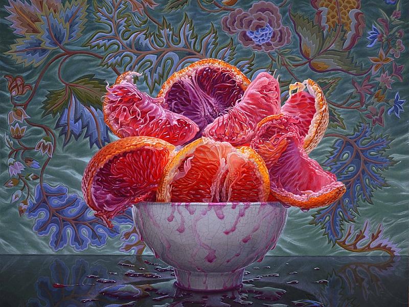 Пазл Собирать пазлы онлайн - Грейпфруты в вазе