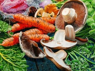 Собирать пазл Грибы и овощи онлайн