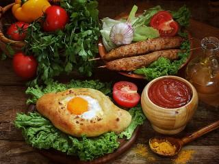 Собирать пазл Хачапури и овощи онлайн
