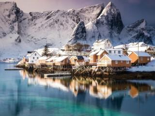 Собирать пазл Норвегия зимой онлайн