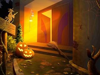 Собирать пазл Хэллоуин на пороге онлайн