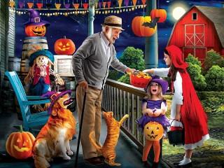 Собирать пазл Хэллоуин у дедушки онлайн