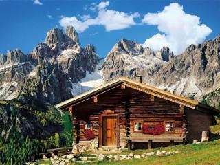 Собирать пазл Хижина в горах онлайн