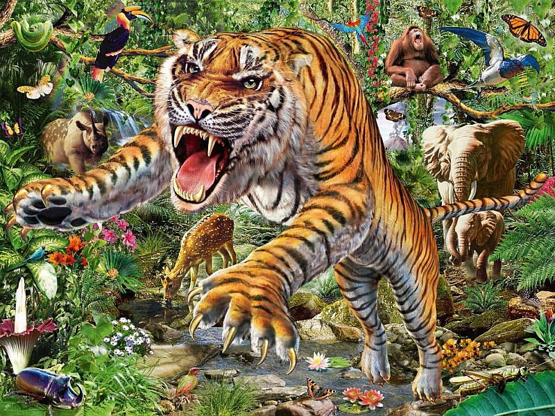 Пазл Собирать пазлы онлайн - Хозяин джунглей
