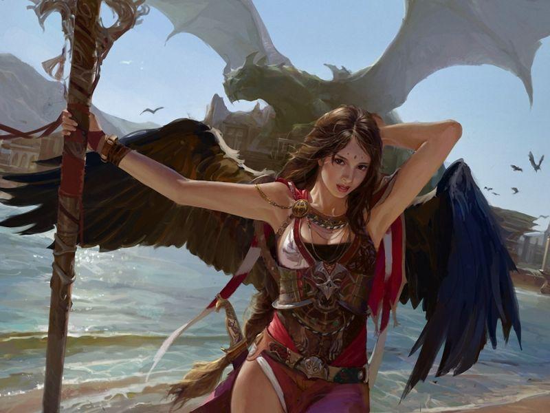 Пазл Собирать пазлы онлайн - Хозяйка драконов