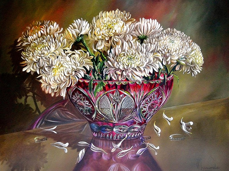 Пазл Собирать пазлы онлайн - Хризантемы в хрустальной вазе