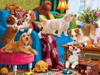 Собирать пазл Игривые щенки онлайн