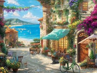 Собирать пазл Итальянское кафе онлайн