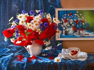 Собирать пазл Июльские цветы онлайн