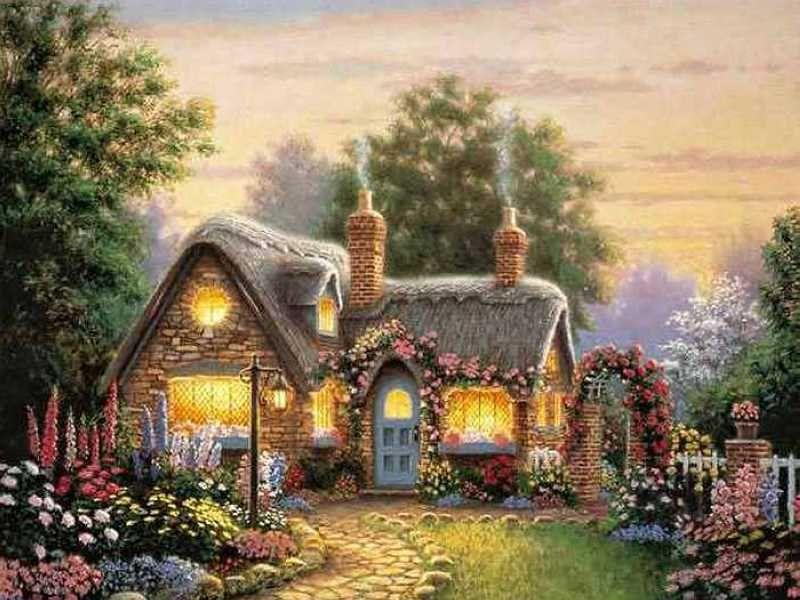 Пазл Собирать пазлы онлайн - Дом с садом