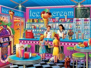 Собирать пазл Кафе морожное онлайн