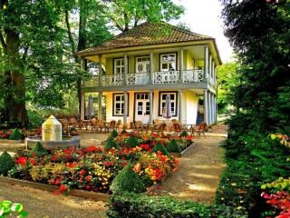 Собирать пазл Кафе в саду онлайн